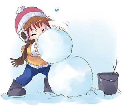 雪だるまと男の子