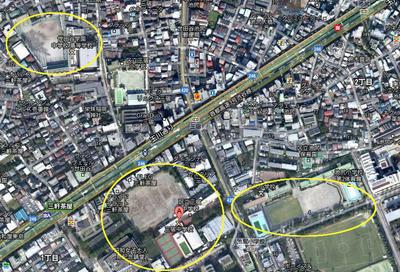 世田谷学園、三宿中学校、池尻小学校 校庭の広さを比較