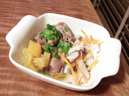 ラム肉と雑炊