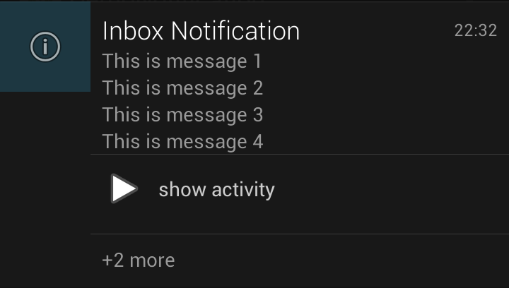 Android 4.1 Jelly Bean Notification.InboxStyle