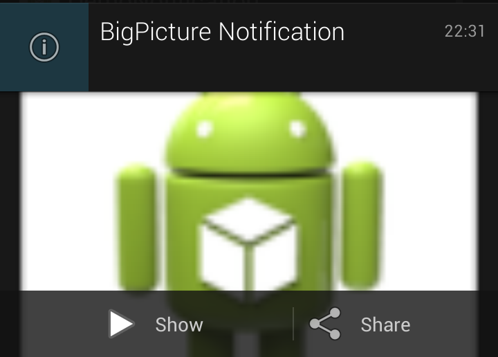 Android 4.1 Jelly Bean Notification.BigPictureStyle