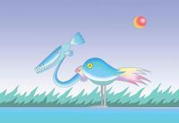 シンプル系メルヘンイラスト - 「サカナ顔の鳥」