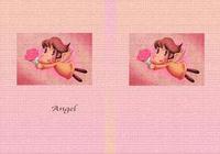 天使のイラスト(色鉛筆画) - 「花束」