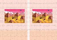 建物イラスト(トリックアート) - 「夕暮れの街」