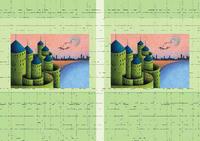 建物イラスト(トリックアート) - 「湖畔の古城」