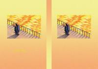 天使犬(色鉛筆画) - 「夕焼けの港」