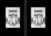 モノクロームイラスト(鉛筆画) - 「不思議な教会」