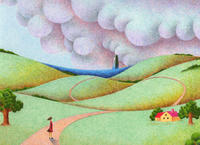 ファンタジーイラスト(色鉛筆画) - 「丘の向こうの青い海」