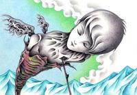 SFイラスト(色鉛筆画) - 「さなぎ」