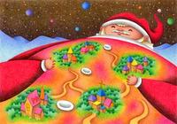 クリスマスイラスト(色鉛筆画) - 「街になったサンタクロース」