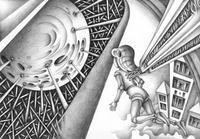 モノクロームイラスト(鉛筆画) - 「天体模型」