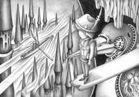 モノクロームイラスト(鉛筆画) - 「夢の中の旅」