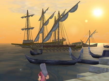 ヴェネの夕日とゴンドラとガレアスと。キレイですよね^^