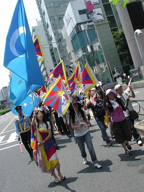 フリーチベット世界トーチリレー in NIPPON デモの様子。