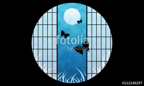 月夜 蝶 和風 丸窓 イラスト サンプル画像
