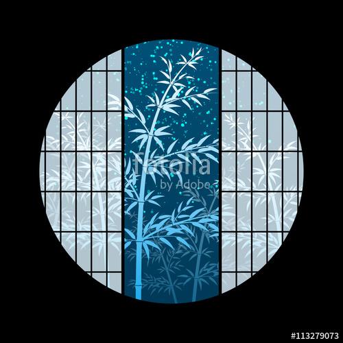 竹 夜空 七夕 丸窓 和風 サンプル画像