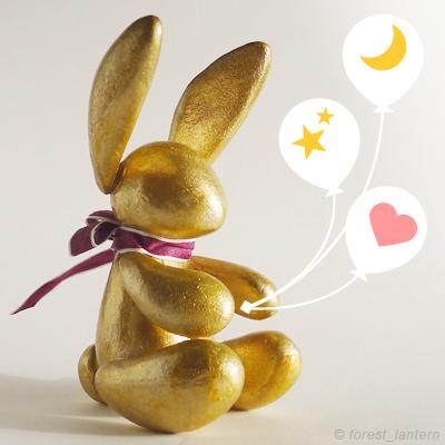 金色うさぎの人形の写真:ハンドメイド