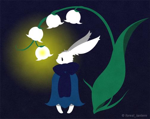 夜とスズランとうさぎ(ミッコ):オリジナルイラスト