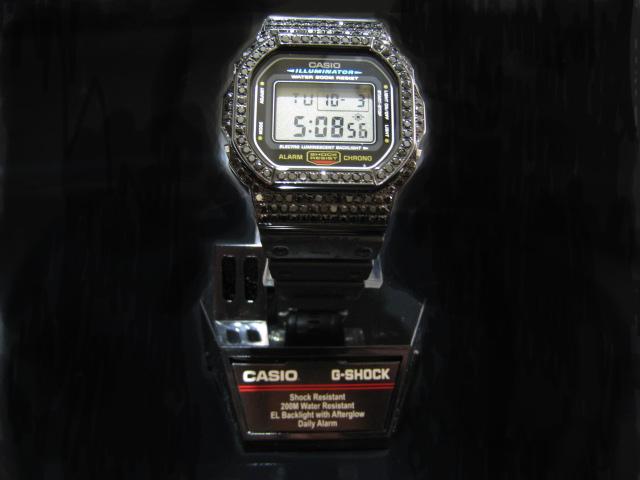 G-SHOCK Gショック ジーショック CASIO カシオ DW-5600E-1VCT SS ブラックダイヤ(CZ) 人口ブラックダイヤ ブラックCZ ブラックキュービックジルコニア ブラックストーン 黒石 パヴェ 爪留 シャインブラックベゼル カスタム 腕時計 Watch デジタル