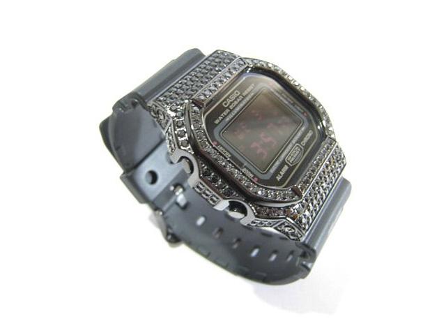 G-SHOCK Gショック ジーショック CASIO カシオ DW-5600MS-1DR ブラックダイヤ(CZ) 人口ブラックダイヤ ブラックCZ ブラックキュービックジルコニア ブラックストーン 黒石 パヴェ 爪留 シャインブラックベゼル カスタム 腕時計 Watch デジタル
