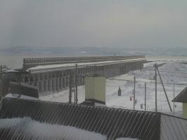 40稚内 ホテルおかべ汐彩亭 客室の窓から見た北港防波堤ドーム