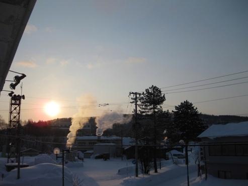 豊富温泉 ニュー温泉閣ホテル 客室の窓から見た朝日