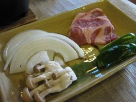 糠平源泉郷 中村屋 夕食 焼き物:上士幌産豚肉、野菜