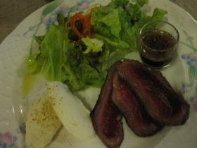 糠平源泉郷 中村屋 夕食 鹿肉のタタキ、上士幌産ジャガイモ「はるか」のマッシュポレト