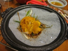 利尻マリンホテル 夕食 台の物:生うに陶板焼き