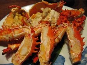 養老牛温泉「湯宿だいいち」/夕食 皿盛:朝湯で蟹