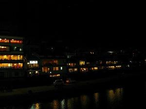 京都 川端通りから見た鴨川沿い<