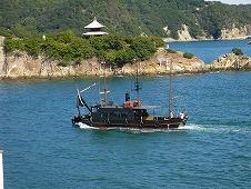 広島観光/広島県 鞆の浦/対潮楼 福禅寺の客殿から見た市営渡船