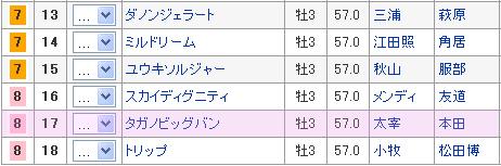 菊花賞8枠17番 タガノビッグバン