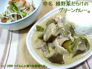 緑野菜のグリーンカレー。