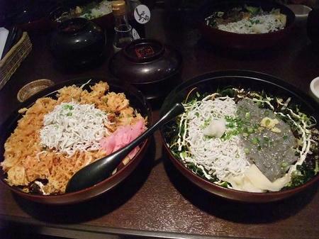 桜海老かき揚げ丼&釜あげと生しらす2色丼