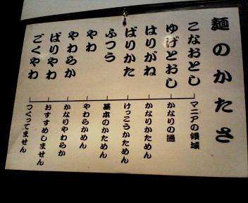 六角堂 麺の固さ表