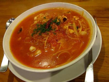 スパゲティー専科 はらっぱ 帆立貝柱と蛸の辛口トマトソース黒胡椒