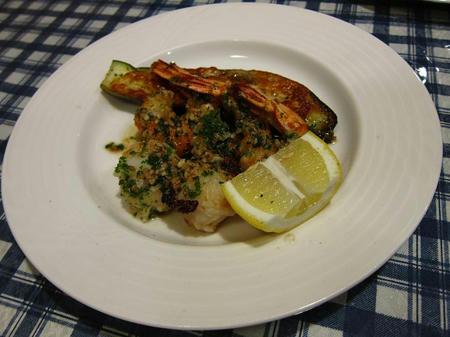 レストラン ピック 大海老と貝柱のガーリックソテー