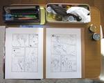 作業中の机