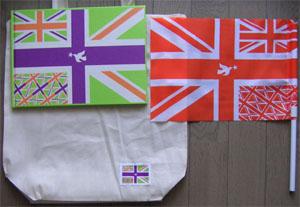 バッグつきのパンフレットと旗^^