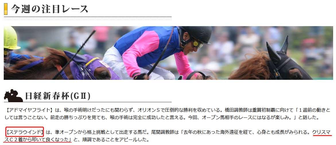 日経新春杯の注目馬情報1