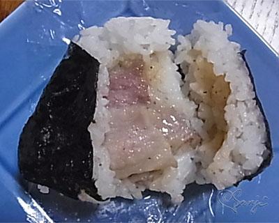 広島のうまい!瀬戸内レモンだれ豚塩焼おにぎりの中の豚肉