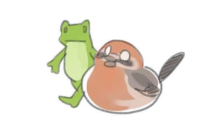 百舌鳥とカエル