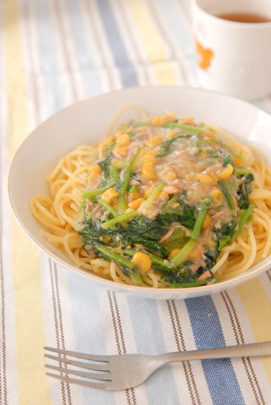 【Lunch】ツナとコーンとほうれん草のスパゲティ