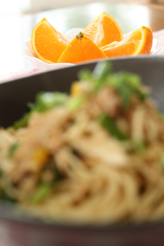 【レシピ】鶏のひき肉とアスパラのスパゲティ(写真食堂)