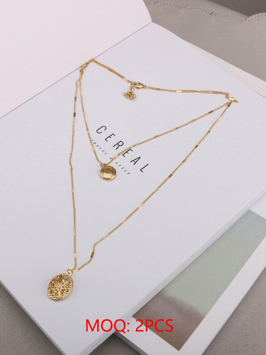 shestar wholesale layered star cutout round necklace